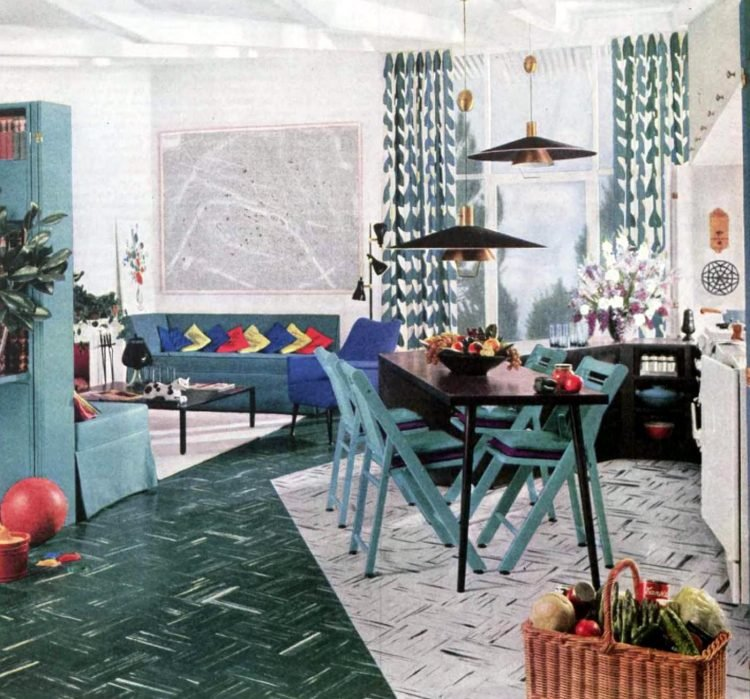 Vintage dining room at an angle for small homes - 1950s
