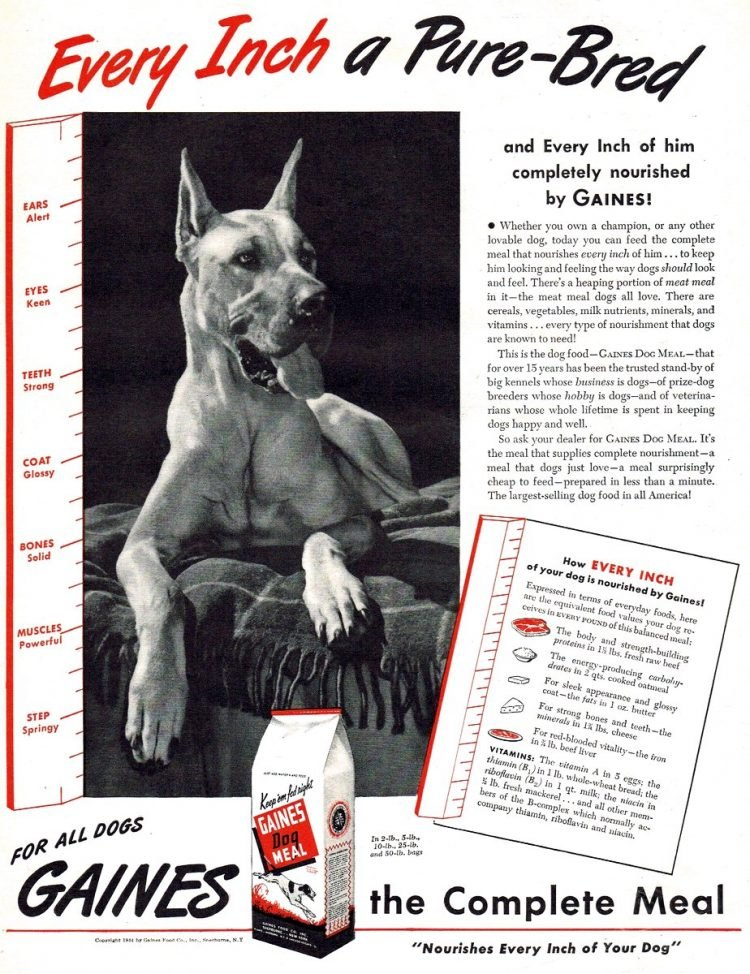 Vintage dog food ad from 1944 - Gaines