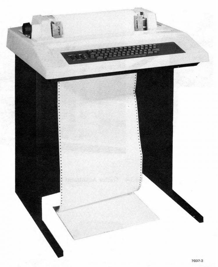 Vintage dot matrix printer detail from 1975 (1)