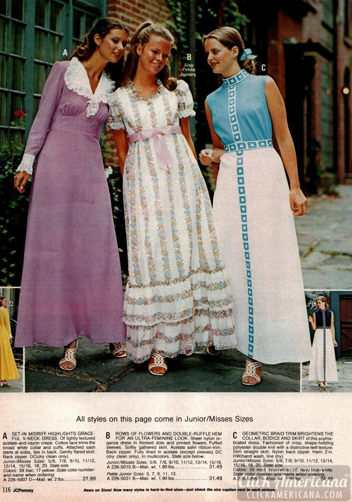 Frilly and dressy dresses from 1973 - Page includes Kim Basinger