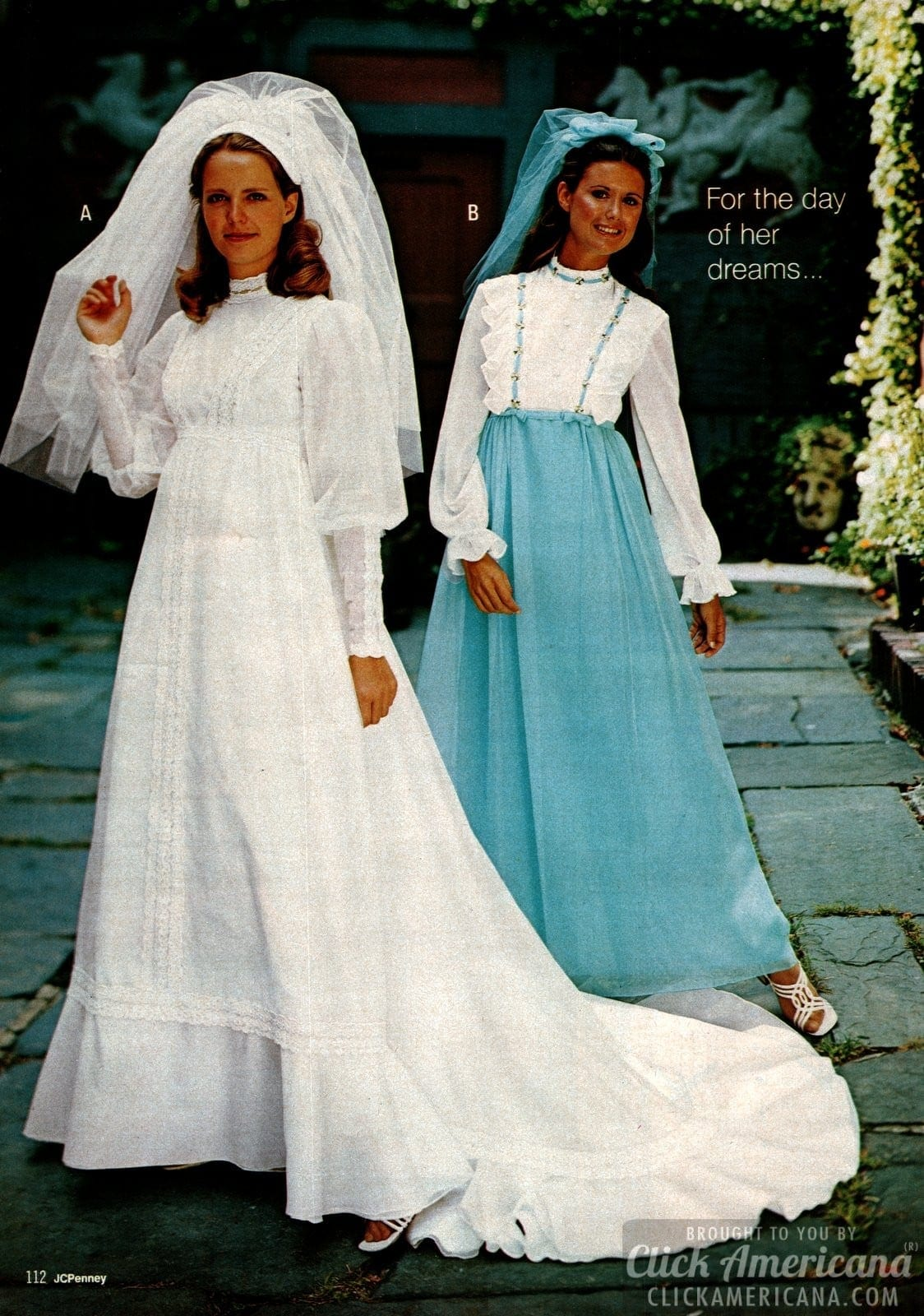 Vintage '70s wedding dresses - white with veil and lace