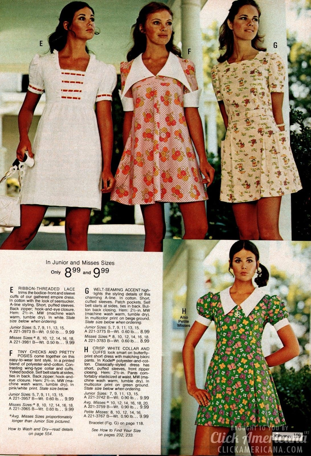 Retro minidresses with wide collars and floral patterns - ribbon-threaded lace trim