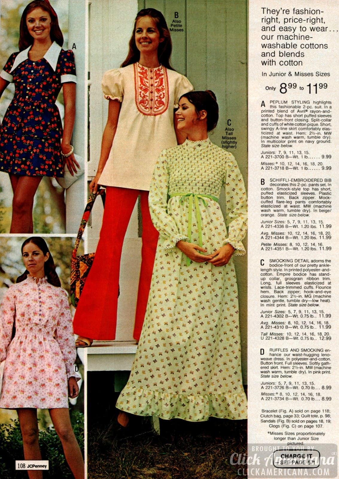 Peplum styled suit, schiffli-embroidered bib on pants set, ankle-length dress plus ruffled and smocked dress