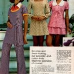 Polyester-cotton knit layered-look pantsuit, flip skirt set and empire-style long sleeve dotted dress