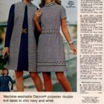 Chic navy blue and white A-line dress and Mandarin-collar coat, plus trimmed short-sleeve dress