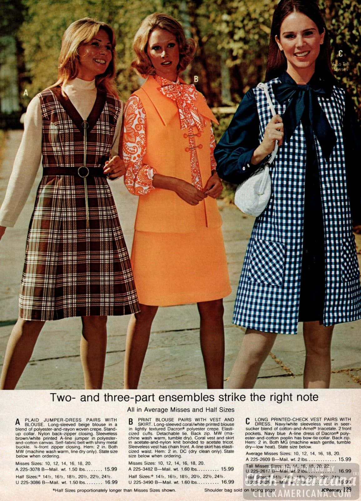 2 and 3-piece ensembles - plaid jumper dress with blouse, print blouse with vest and skirt, and check vest with dress