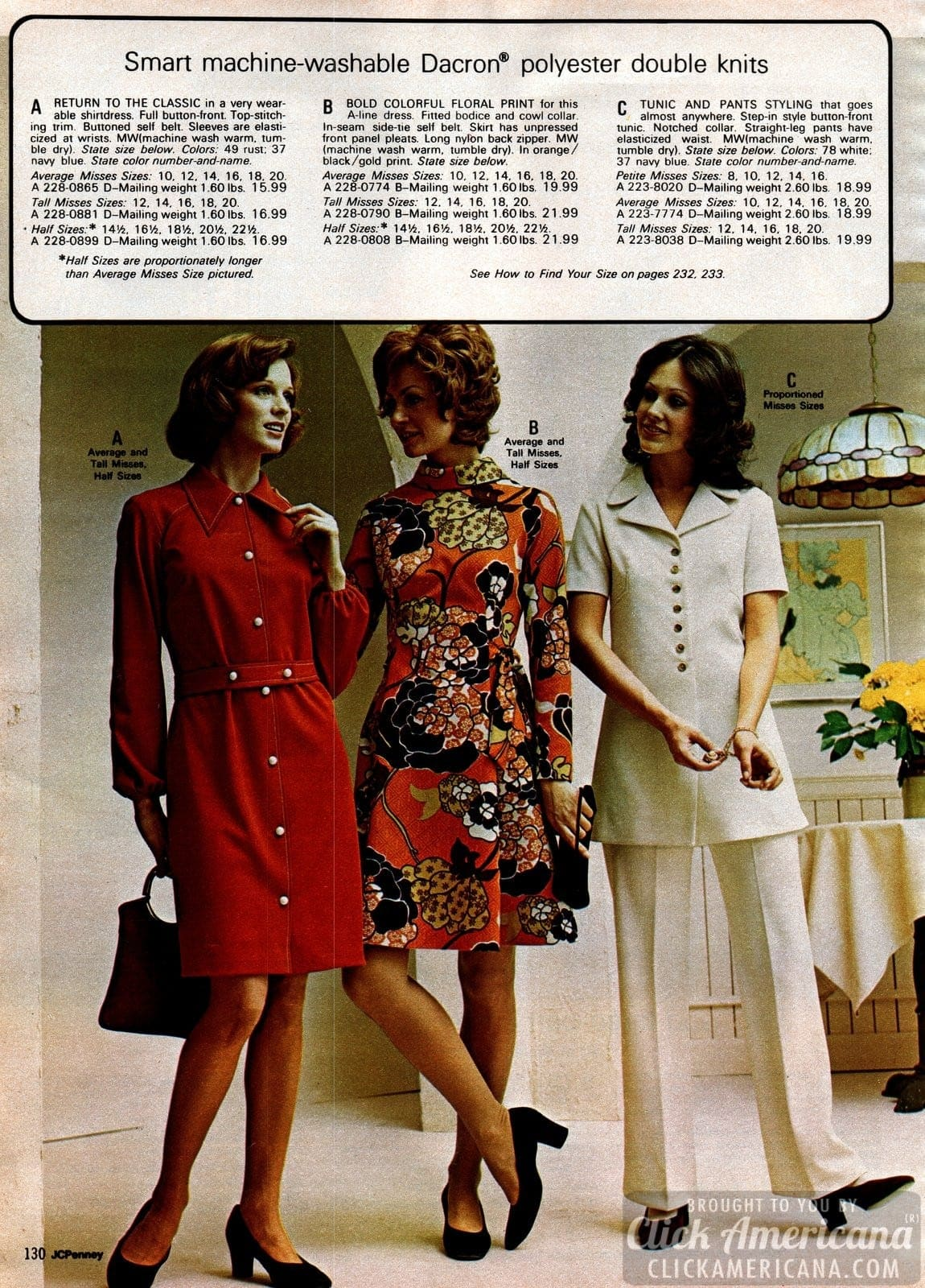 Polyester shirtdresses, floral A-line print dress with cowl collar, and matching tunic and pants set