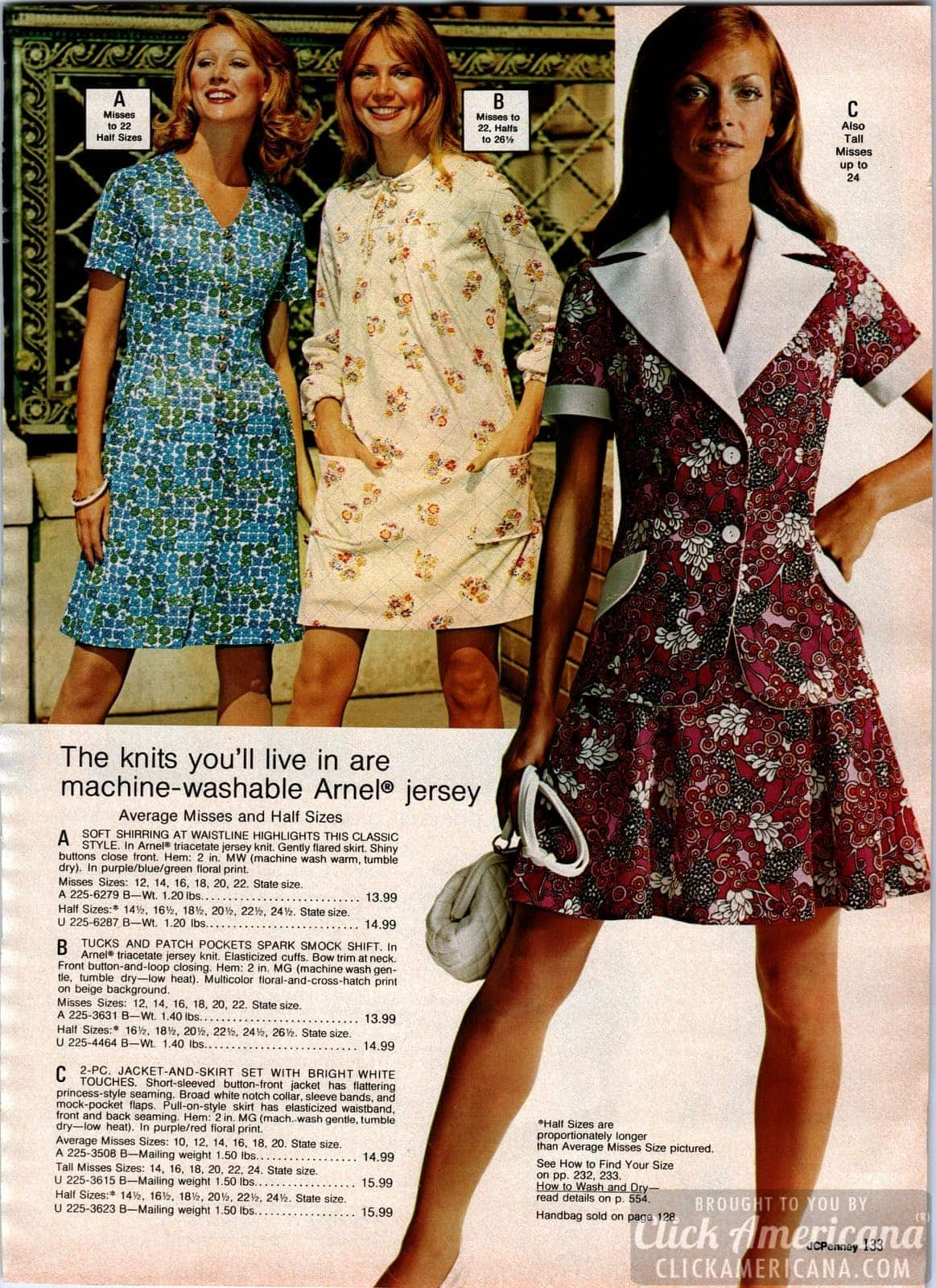 Jersey print dresses - Button-up jacket and skirt set with wide white collars and smock shifts