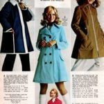 Jackets with vinyl collars, Edwardian-style collar on polyester-cotton vintage coat and flared tent silhouette coat