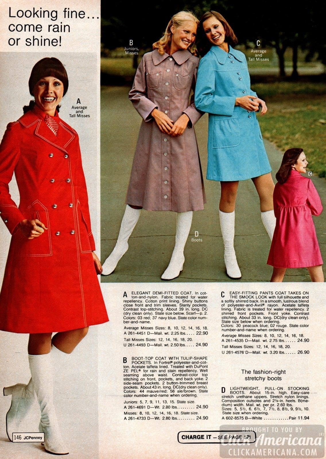 Vintage coats for women - boot-top coat with tulip-shaped pockets - plus stretch boots
