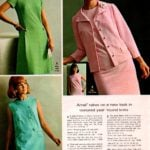 Textured year-round knits of Arnel - skirts and skimmers and jacket dresses in pink, green and blue