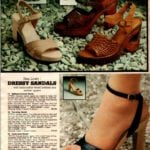 Vintage dressy high-heel sandals with wood soles and leather uppers from 1979
