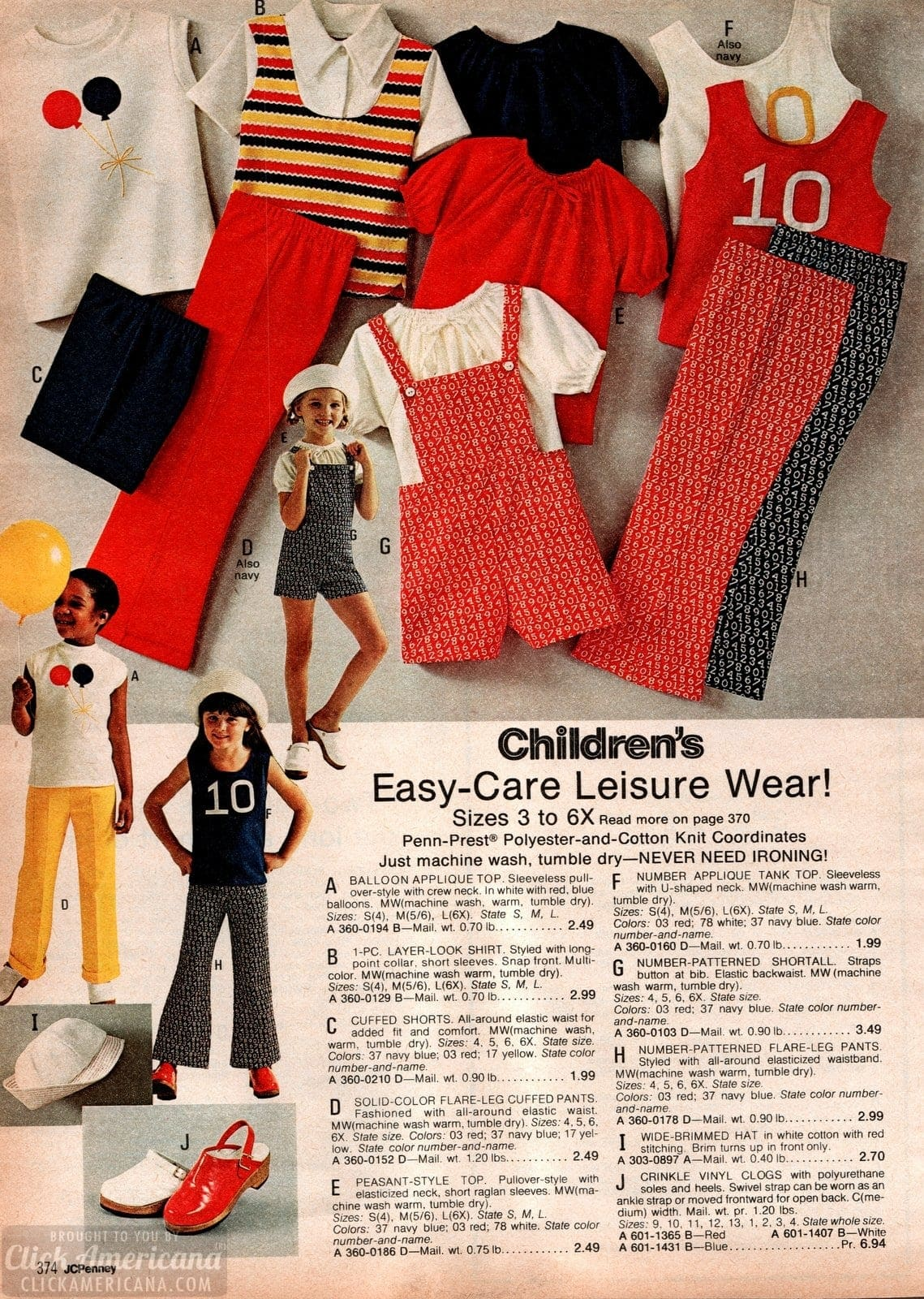 Vintage easy-care leisure wear for little girls - flare pants and peasant-style tops