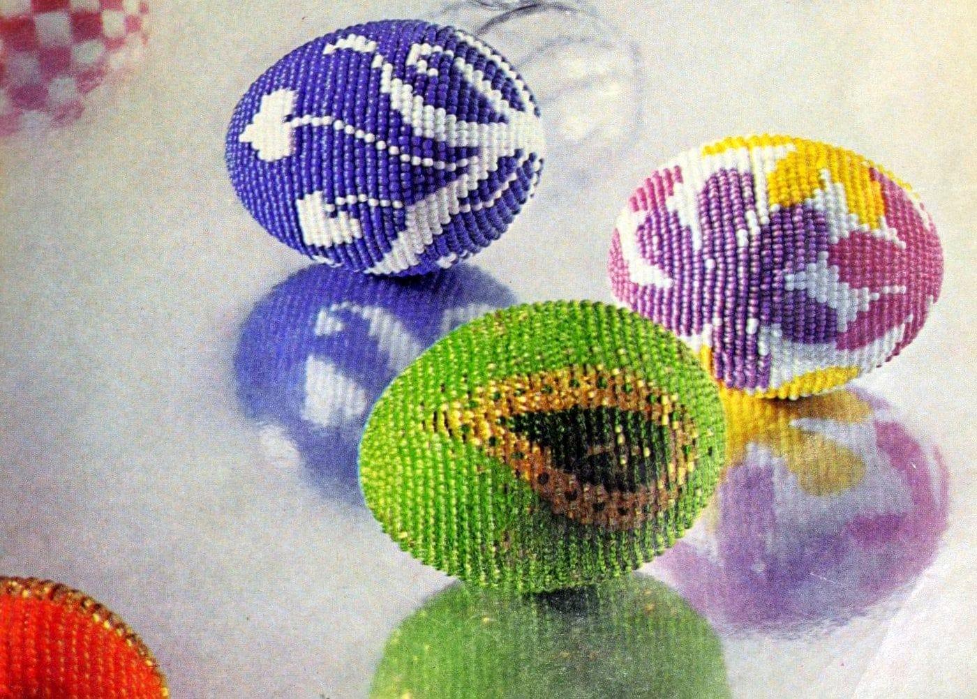 Vintage egg crafts - beaded eggs