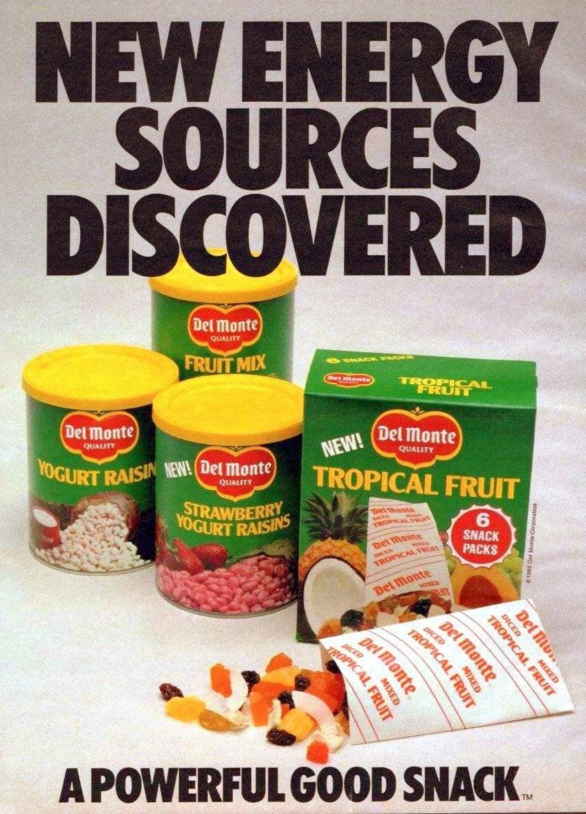 Vintage eighties Del Monte fruit snacks (1985)