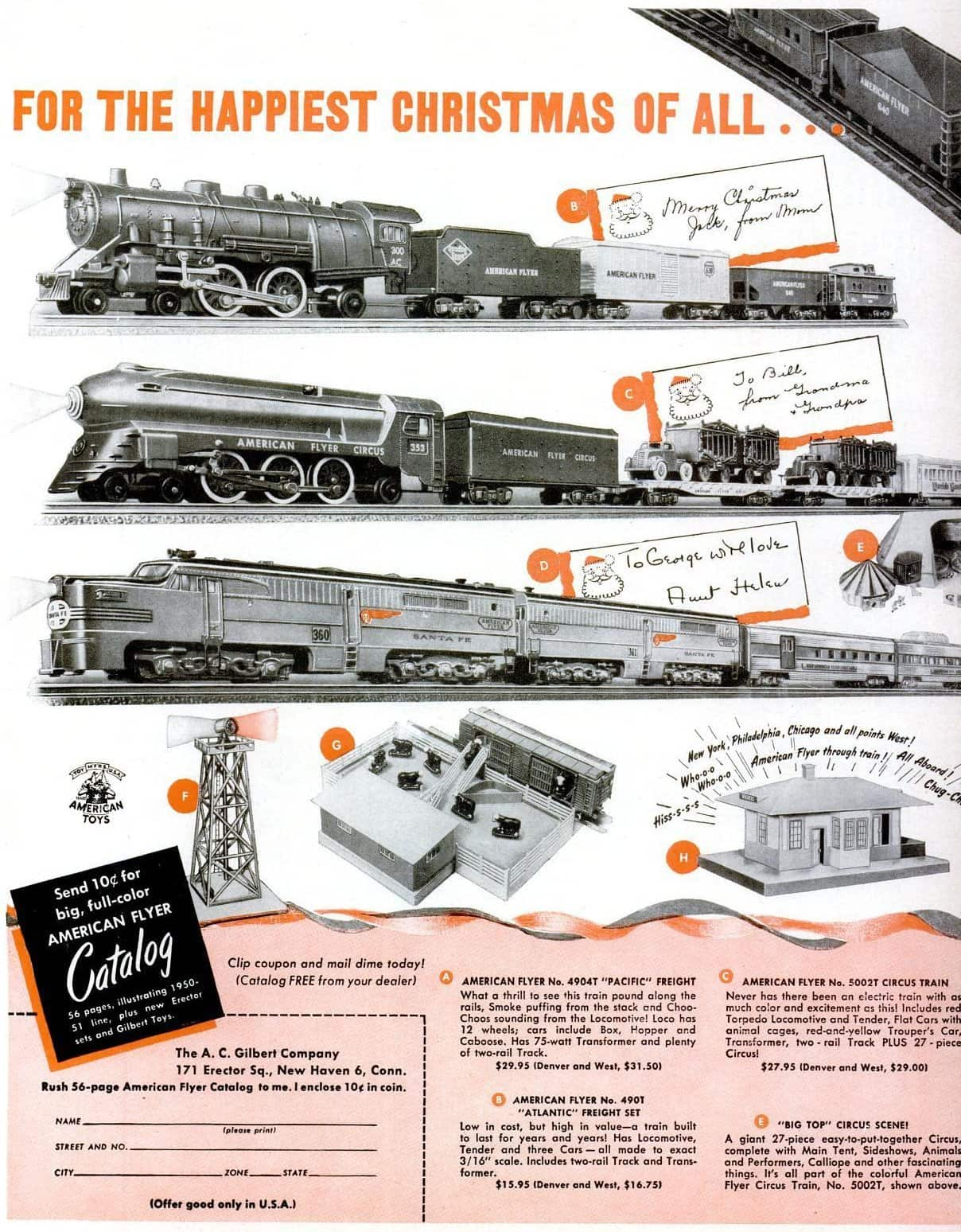Vintage electric American Flyer train set toy (1950)