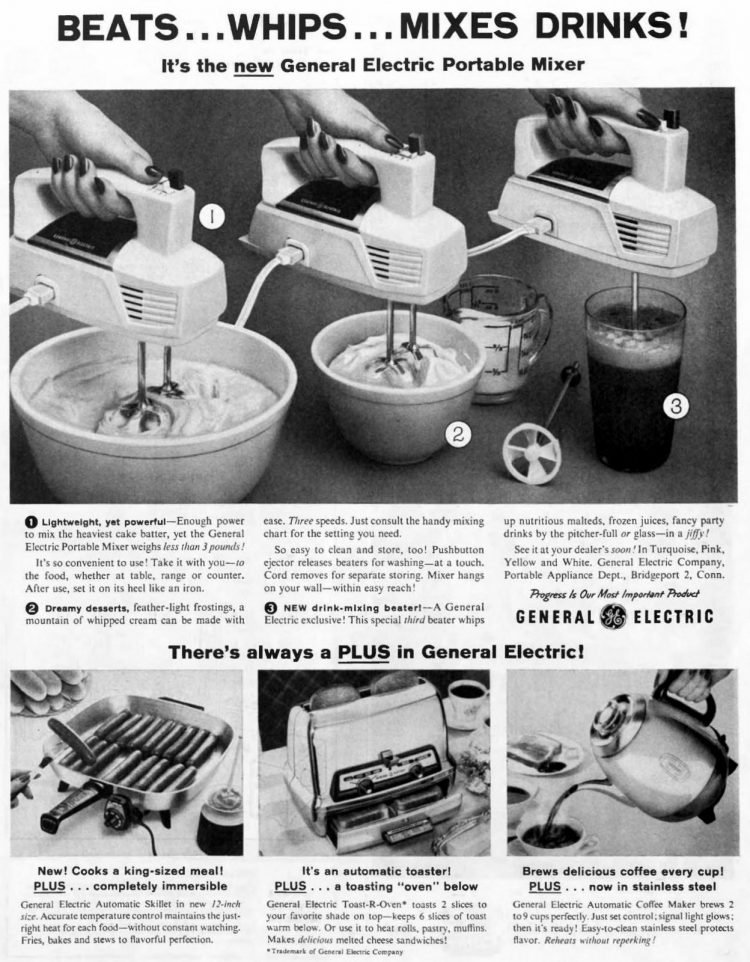 Vintage electric hand mixer 1950s - General Electric small appliances 1959