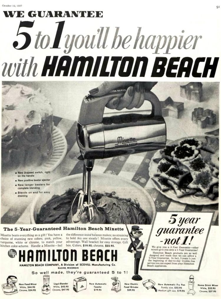 Vintage electric hand mixer 1950s - Hamilton Beach 1957