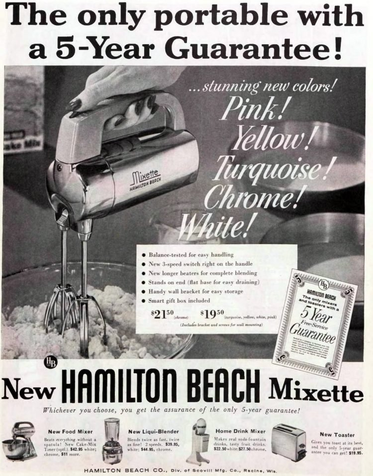 vintage portable electric hand mixers - Hamilton Beach Mixette in colors 1956