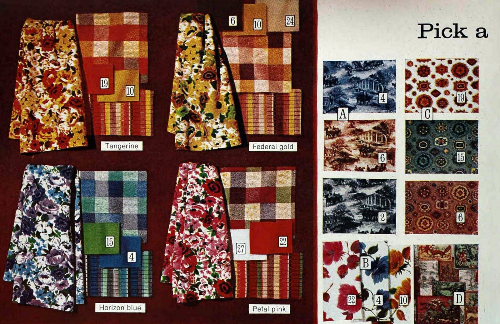 Vintage decorating fabric patterns from Sears in 1965 (2)
