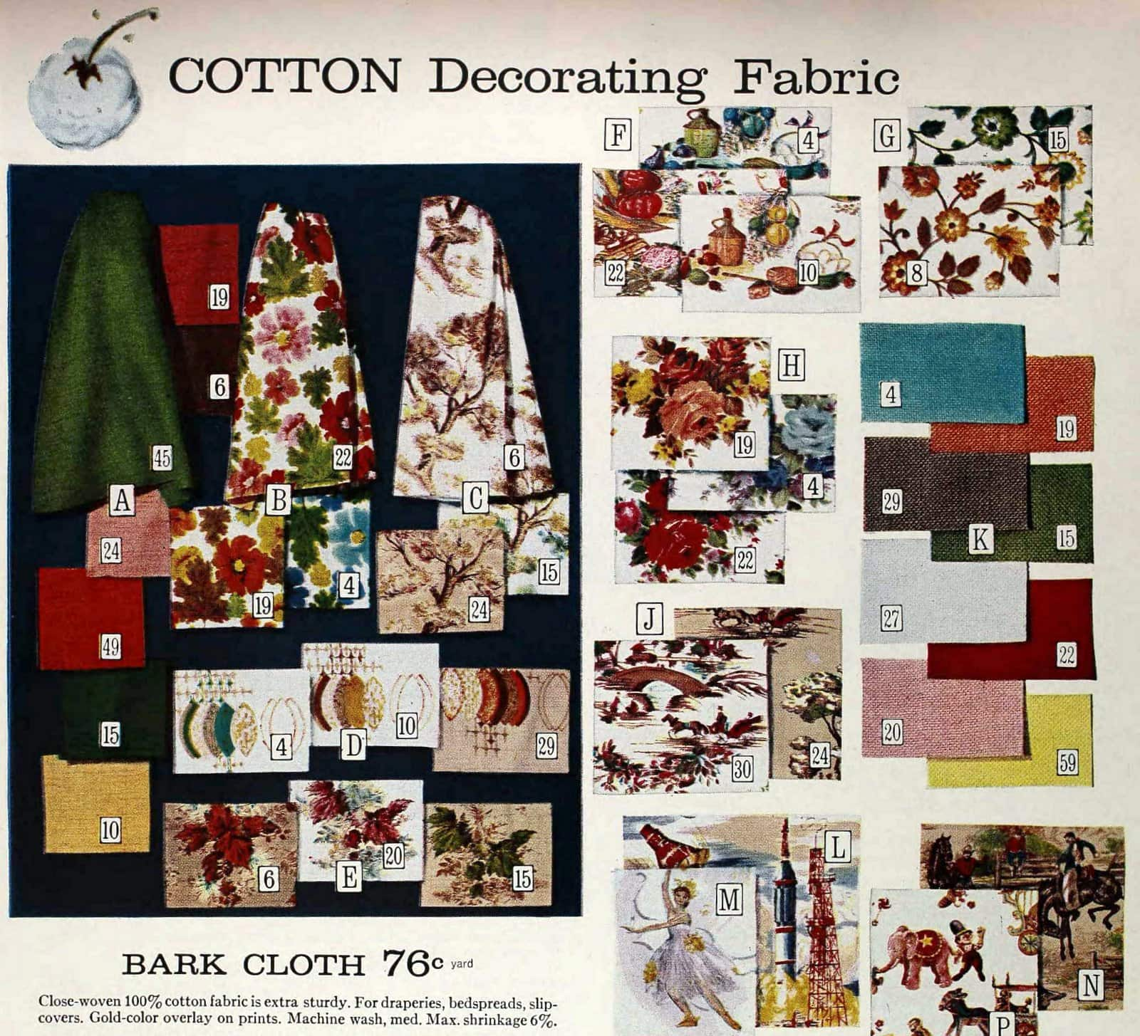 Vintage decorating fabric patterns from Sears in 1965 (3)