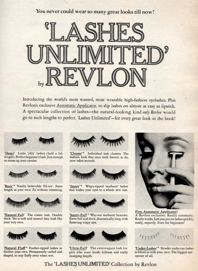 Vintage false eyelashes - Lashes unlimited by Revlon May 1970