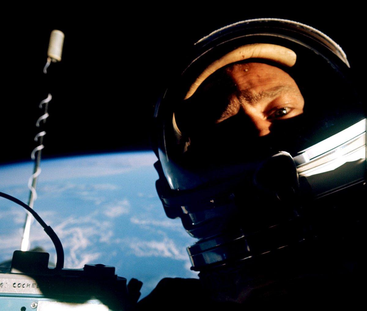Vintage famous Buzz Aldrin spacewalk selfie from Nov 12 1966 Buzz Aldrin-NASA at ClickAmericana com