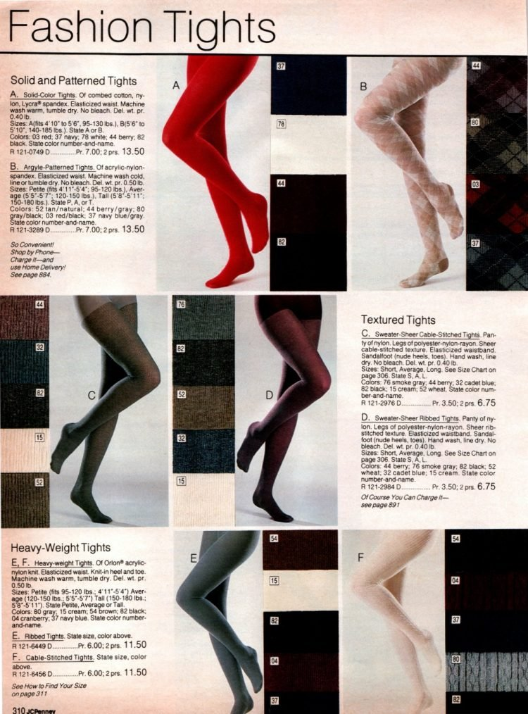 Vintage fashion tights from 1983