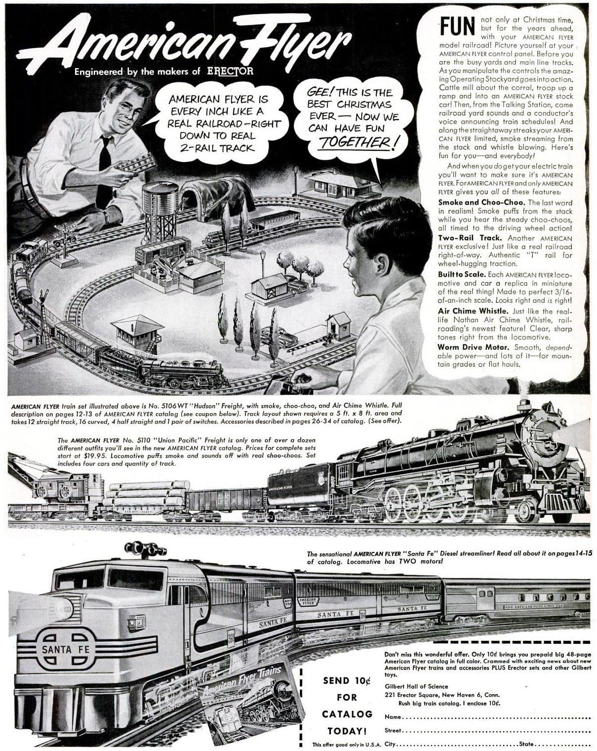Vintage father and son playing with American Flyer railroad toys (1951)