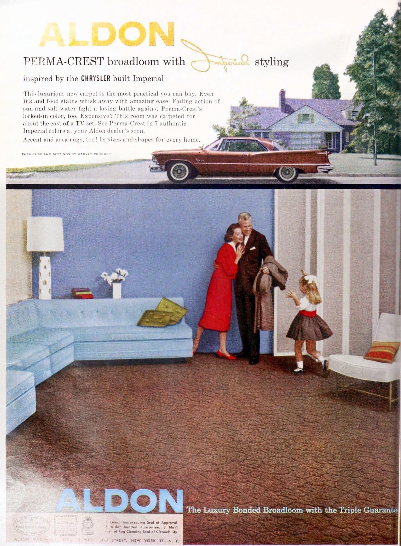 Vintage fifties Aldon broadloom carpet with pattern (1958)
