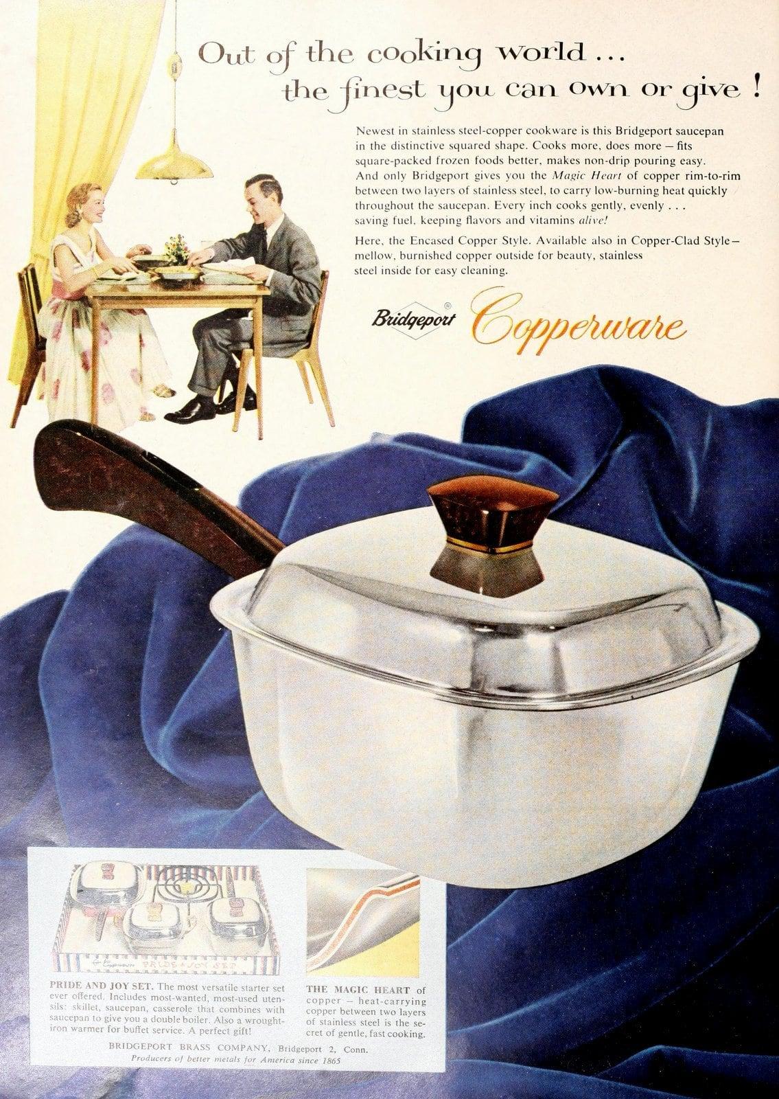 Vintage fifties Bridgeport Copperware saucepans and kitchenware (1956)