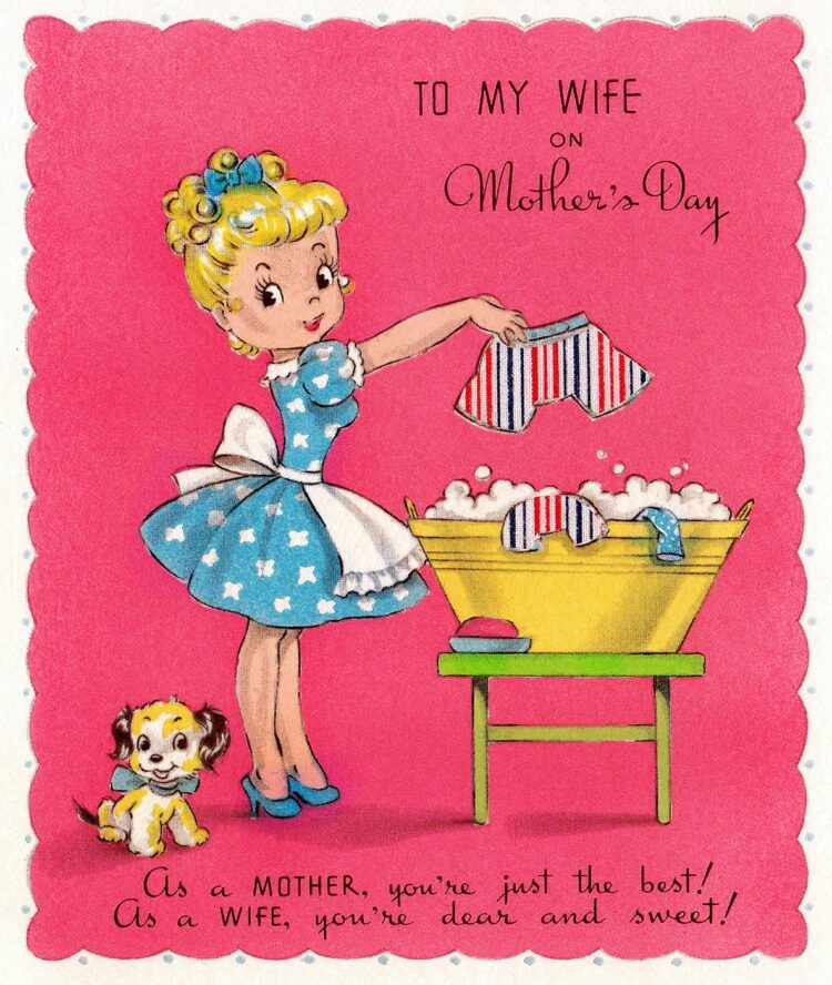 Vintage fifties Mother's Day card with mom doing laundry