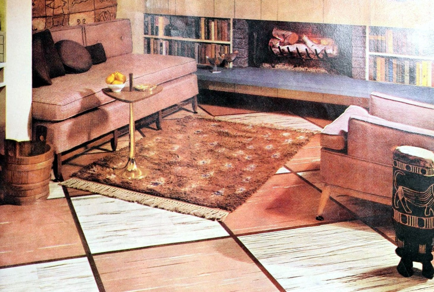 Vintage fifties living room decor with large bordered squares (1959)