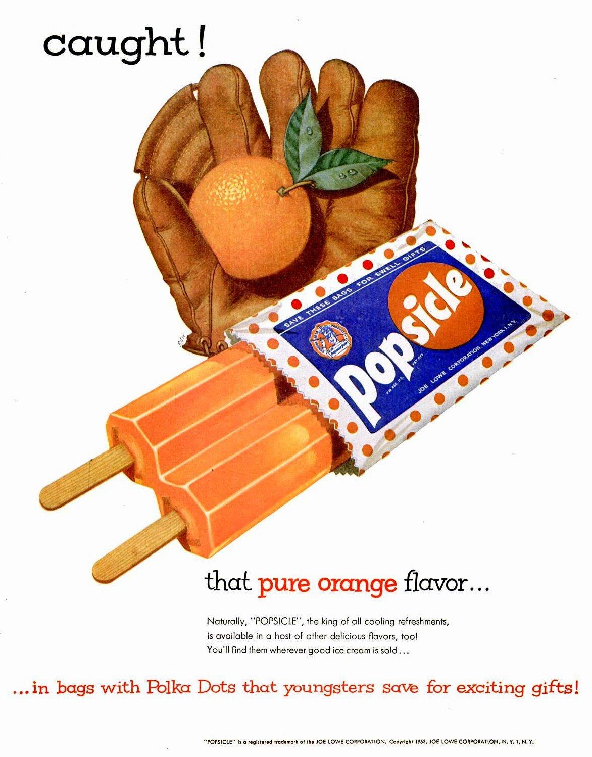 Vintage fifties orange double stick popsicles (1953)