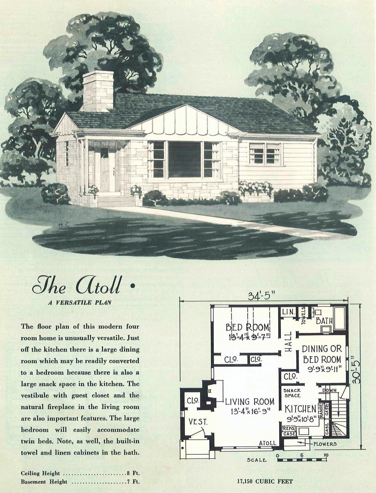 Vintage fifties small starter home plans from 1950 (2)