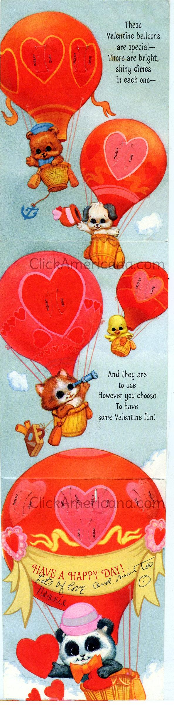 Vintage folded insert dime Valentine's Day card