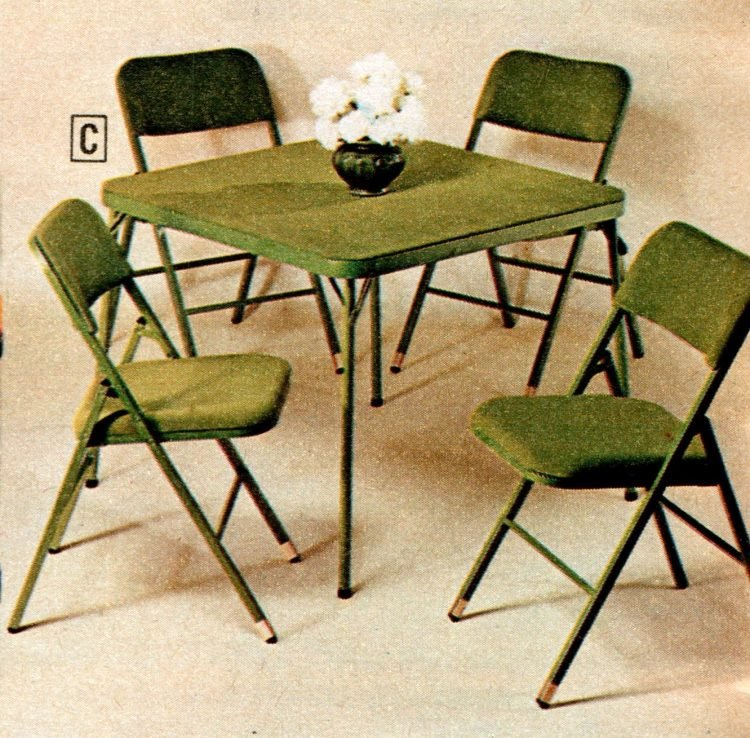 Vintage folding furniture - card tables and chairs from the 70s - 1973 (2)