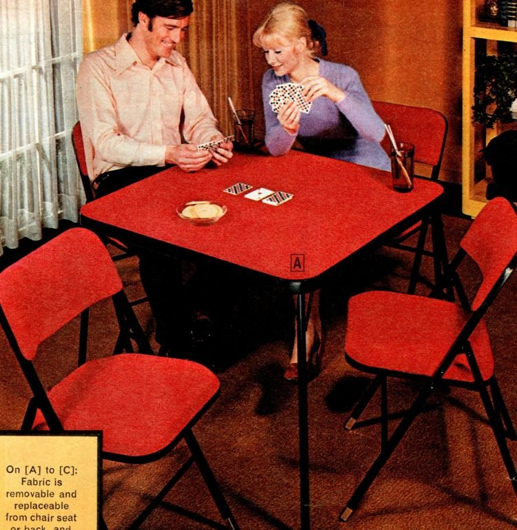 Vintage folding furniture - card tables and chairs from the 70s - 1973 (3)