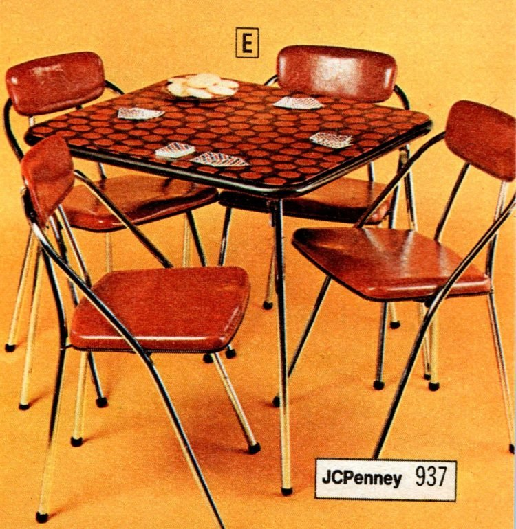 Vintage folding furniture - card tables and chairs from the 70s - 1973 (4)