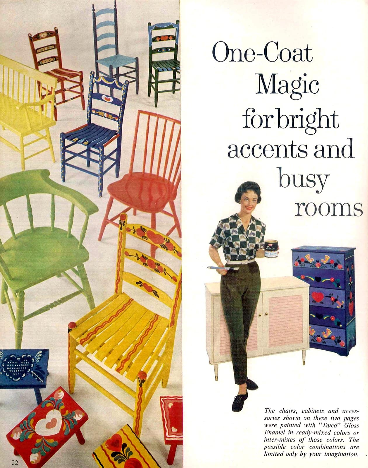 Vintage folk art-style painted chairs (1960s)