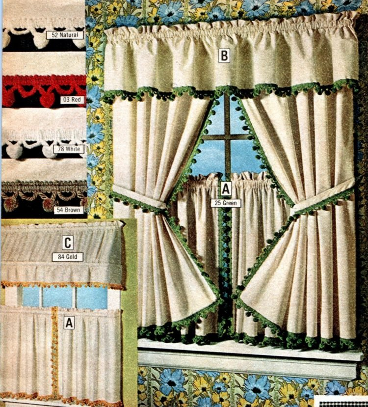 Vintage fringe-tiered window curtains of cotton muslin