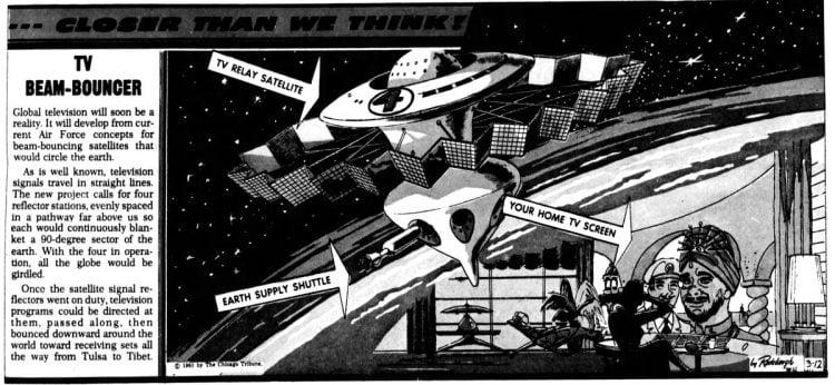 Vintage futuristic homes - TV beam bouncer satellite invention March 12 1961