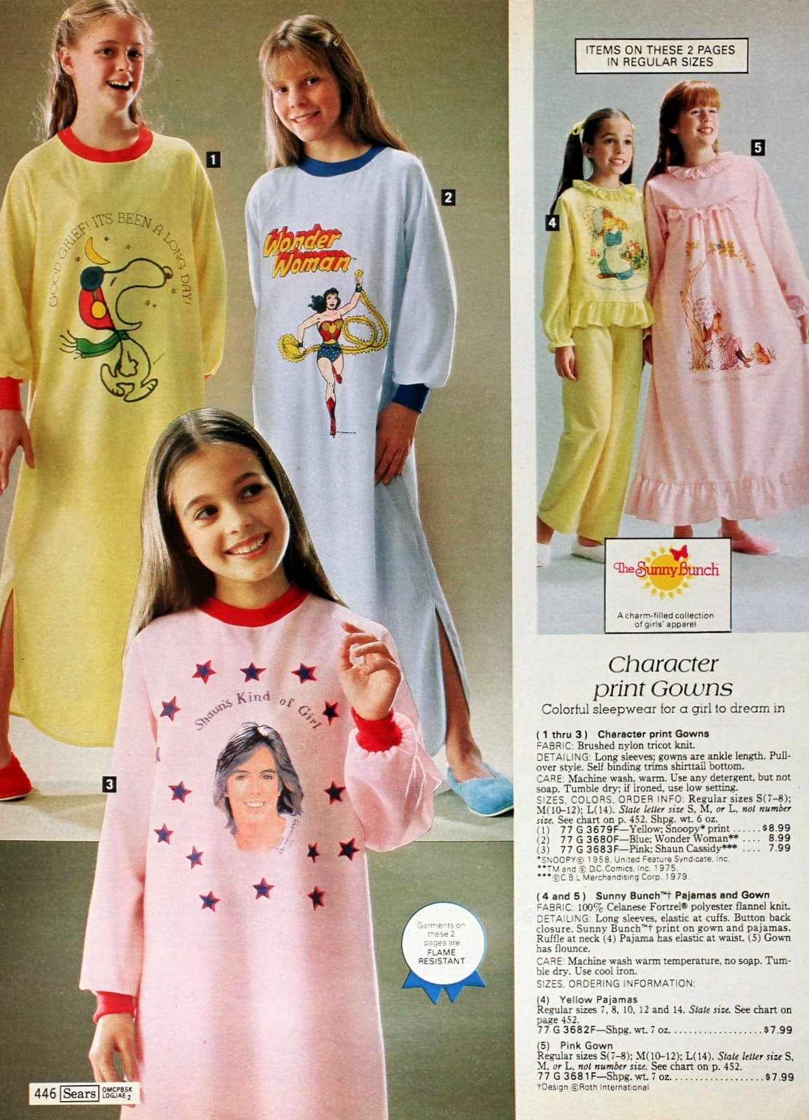 Vintage giirls nightgowns and pajama sets from the 1980s