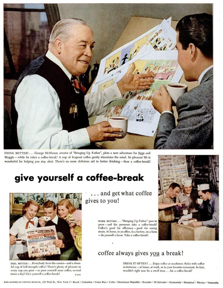 Vintage give yourself a coffee break ad from 1952