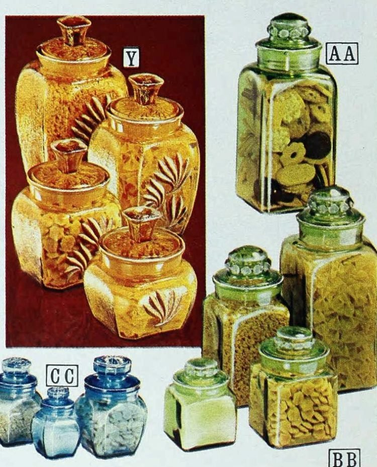 Vintage glass kitchen containers from the 70s