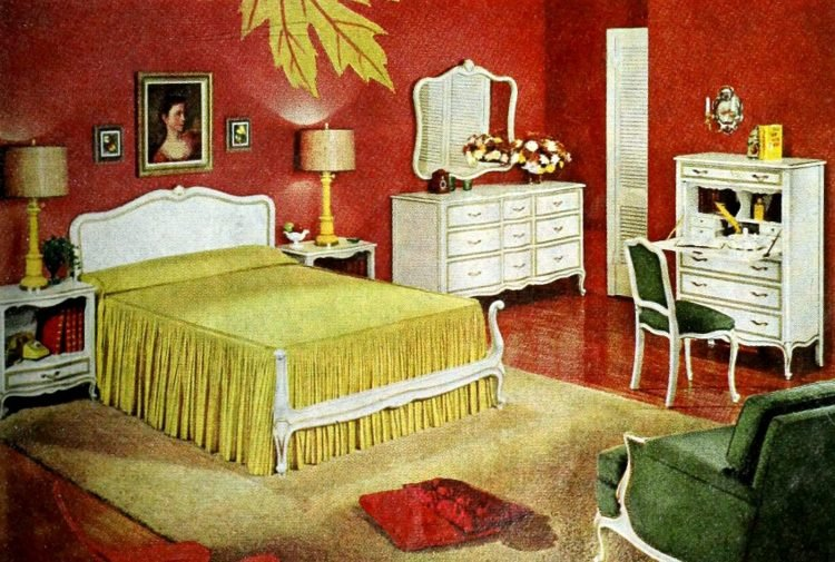 Vintage gold yellow bedroom decor from the 50s (2)