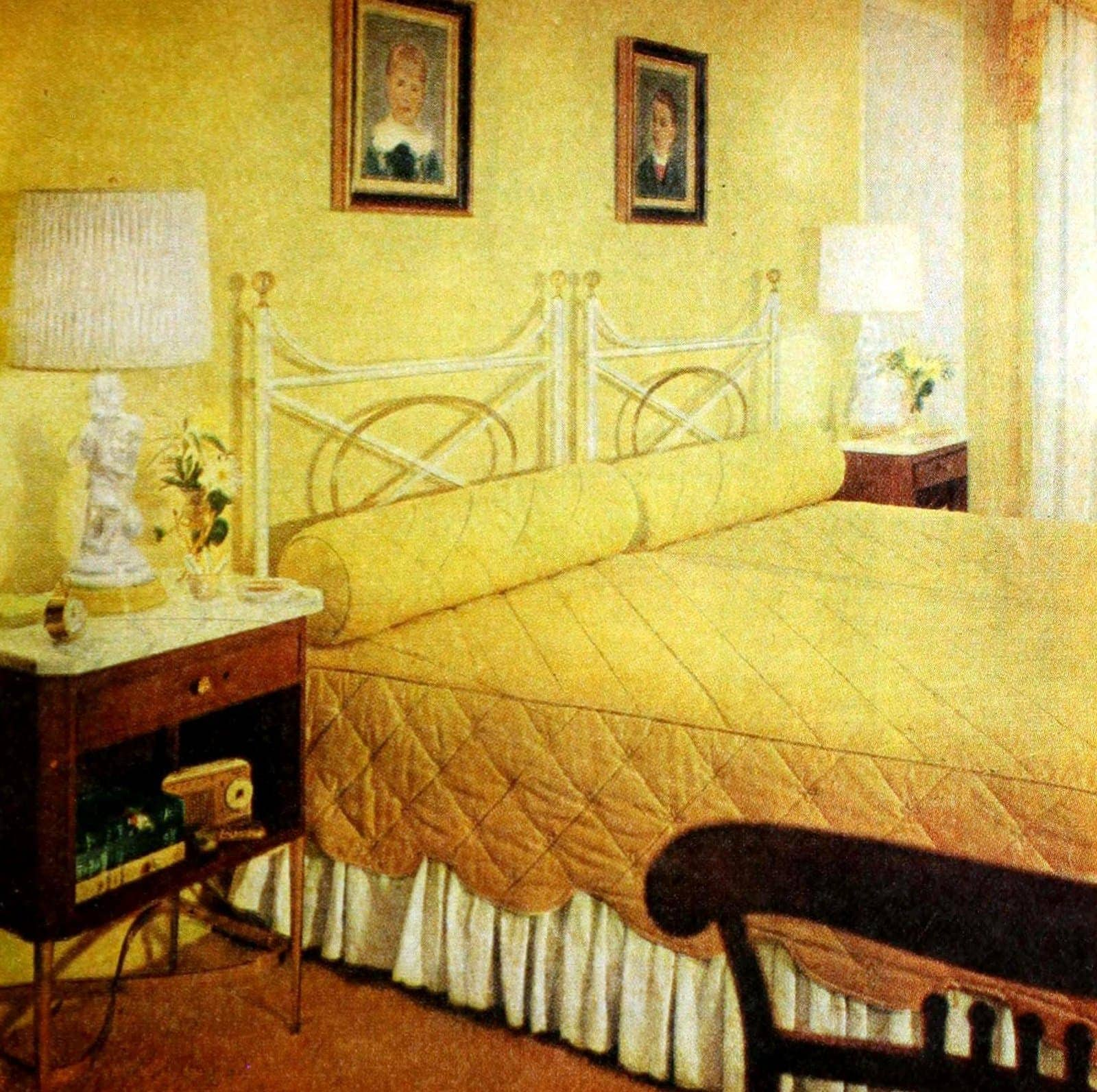 Vintage gold yellow bedroom decor from the 50s (3)