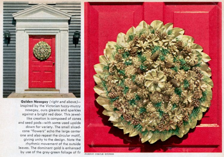 Vintage golden nosegay-style DIY Christmas wreath