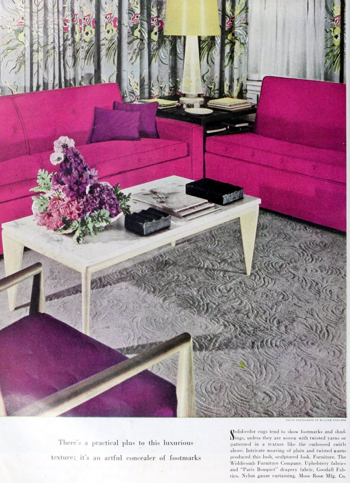 Vintage gray textured carpet with a hot pink sofa (1949)