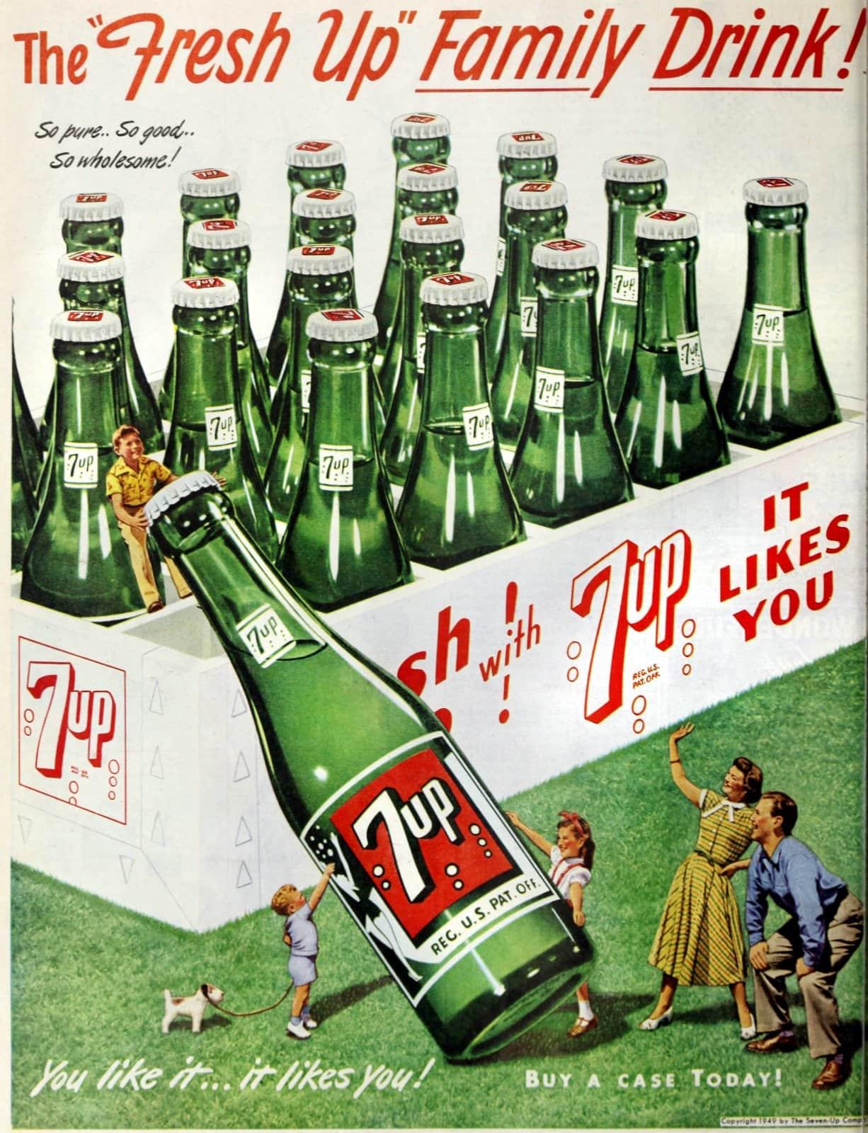 Vintage green 7-UP bottles in 1949